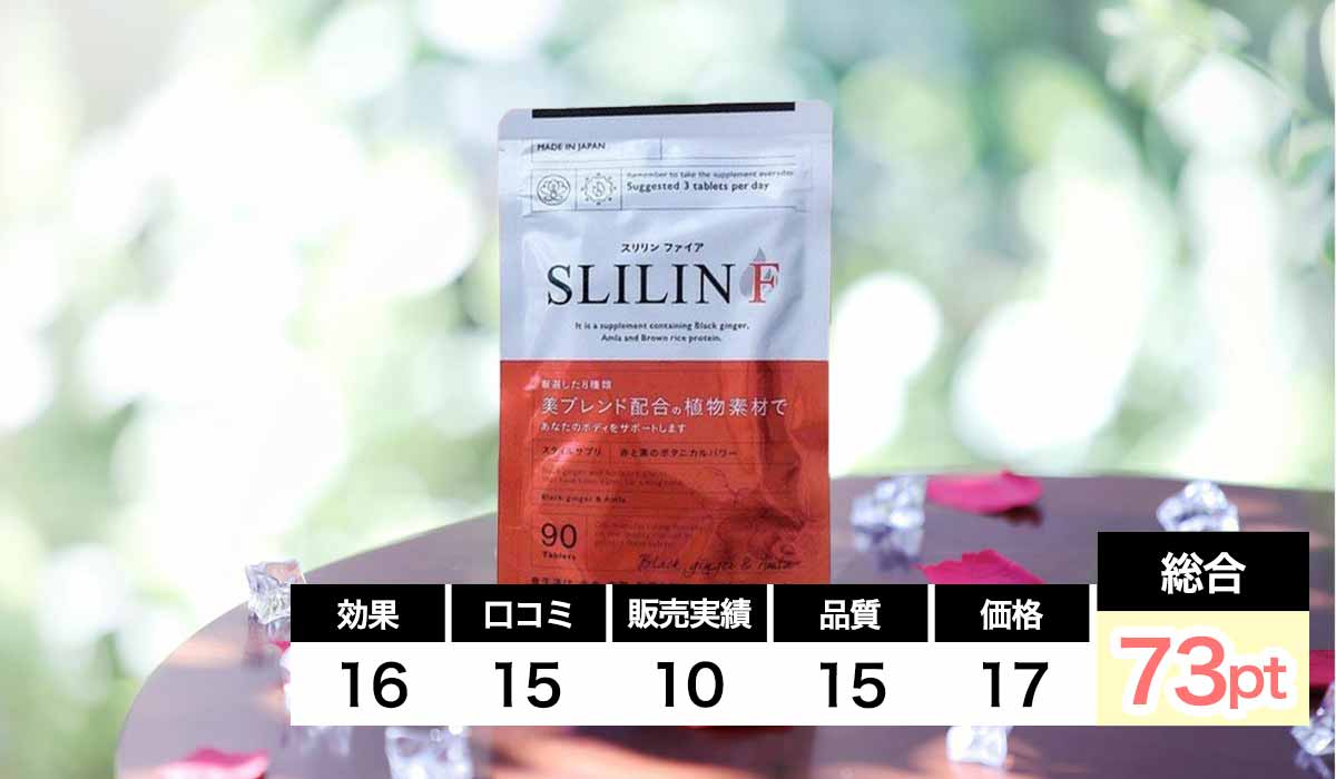 SLILIN Fのダイエットサプリランキングの項目別の評価